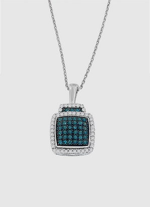 Sterling Silver 1/2 ct TDW Treated Blue Diamond Block Pendant Necklace