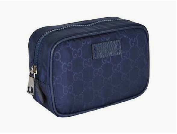 Gucci Navy Tide Blue GG Logo Toiletry Bag Travel Case