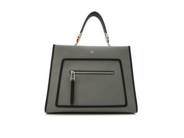 Fendi Runaway Ice Gray Leather Black Trim Handbag