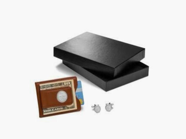 Brown Leather Wallet & Monogram Cufflinks Gift Set