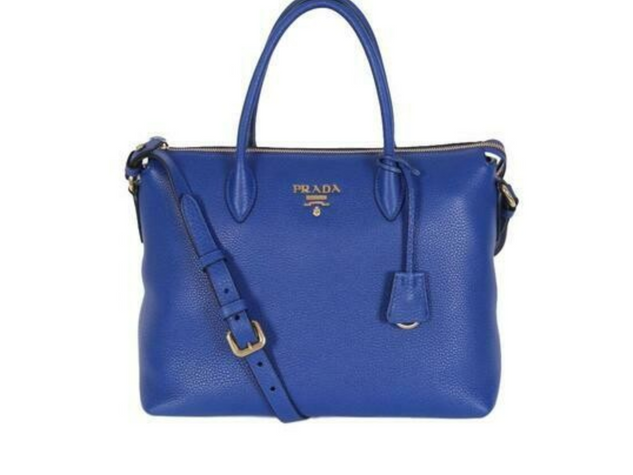 Prada Women's Royal Blue Vitello Phenix Leather Crossbody Handbag