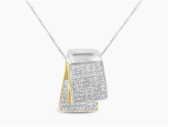 14K Two-Tone Gold 2 ct TDW Diamond Box Pendant Necklace