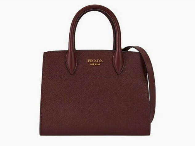 Prada Bibliotheque Tote Saffiano City Leather Maroon Gray Handbag