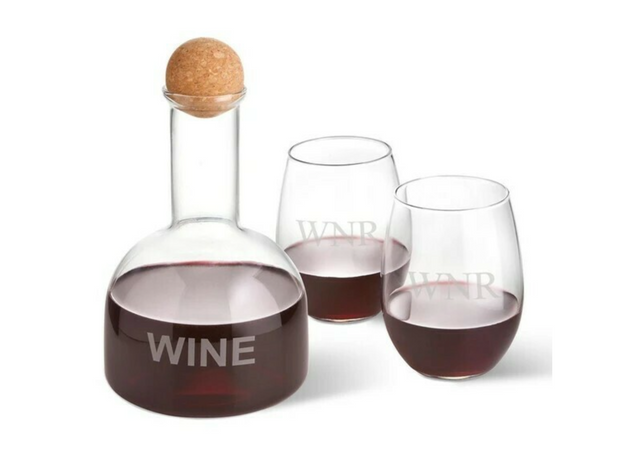Personalized Wine Decanter in Wood Crate w/2 Wine Glasses