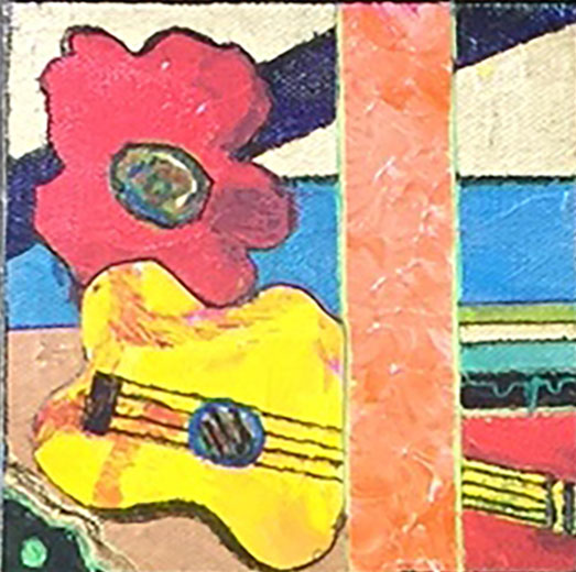 Yellow Guitar with Red Flower
