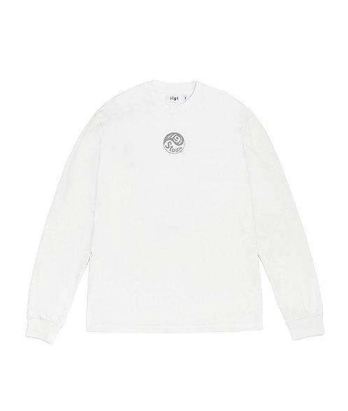 Yin Yang Reflective Logo Long Sleeve Tee - White