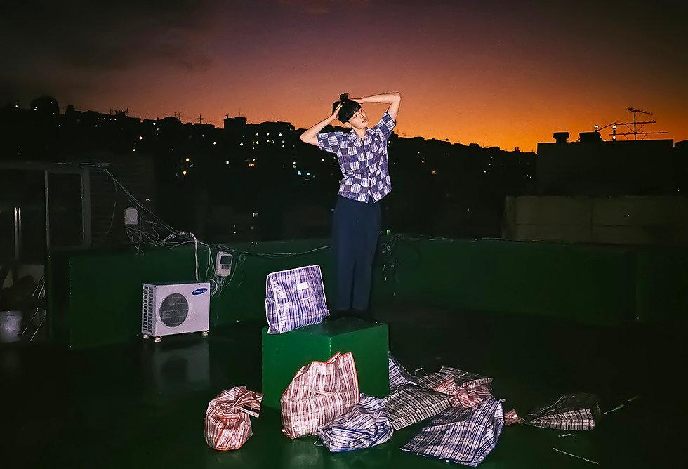 Ilgi Madison Plaid Print Shirt Lookbook Shoot in Seoul
