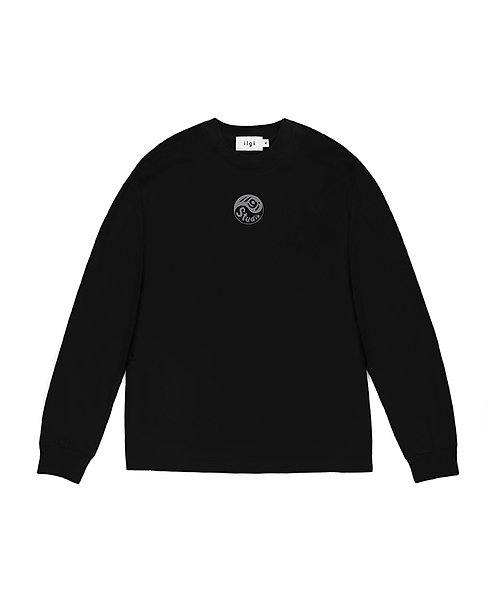 Yin Yang Reflective Logo Long Sleeve Tee - Black