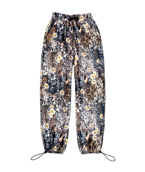 Leopard Daisy Fleece Lounge Pants