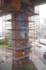 Fresques des piliers en chantier