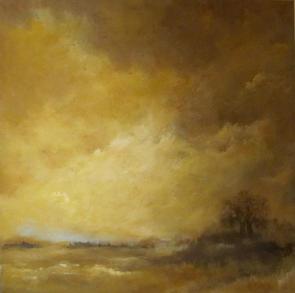 tableau paysage doré