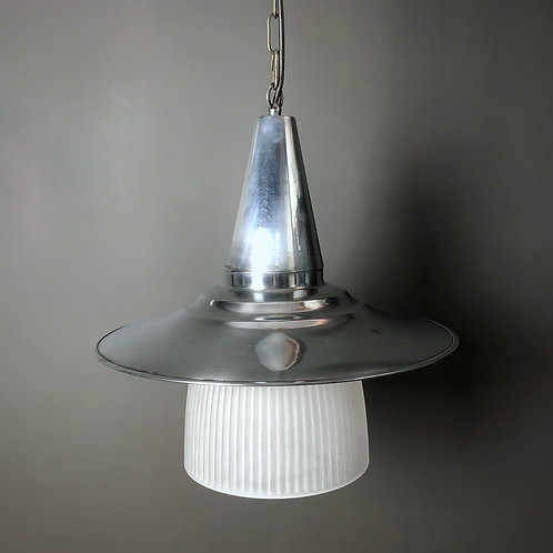 Vintage Industrial Chrome & Glass Pendant Light
