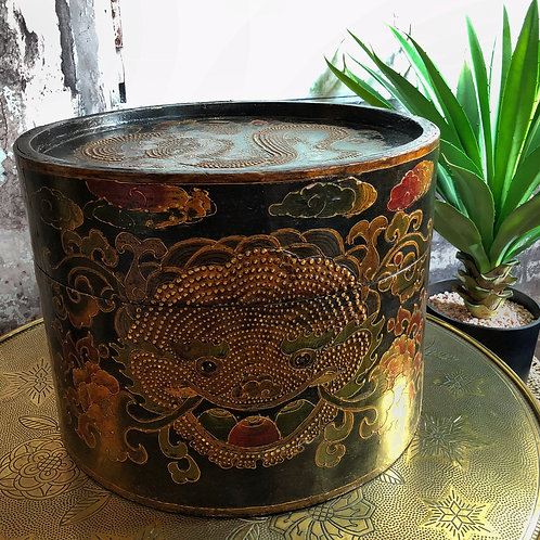 Victorian Chinese Hat Box With Raised Dragon Design
