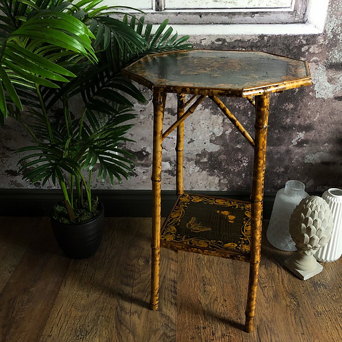 Victorian Japanese Bamboo Decoupage Side Table