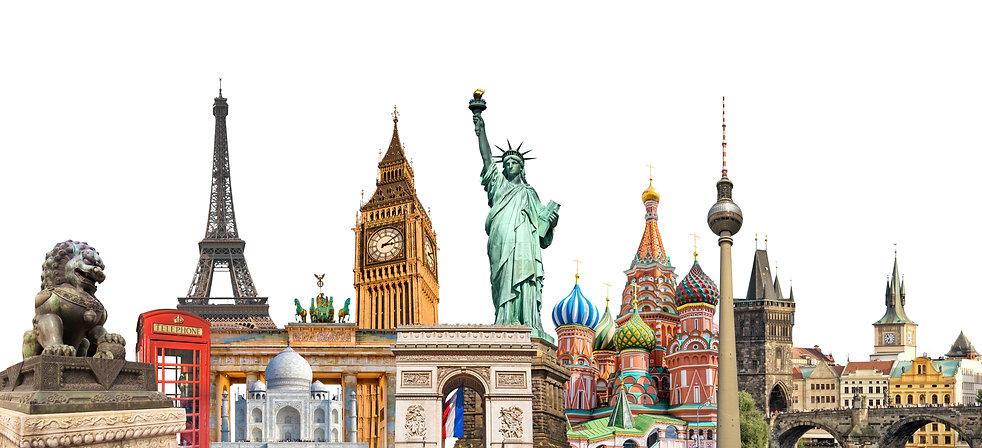 World landmarks photo collage isolated o