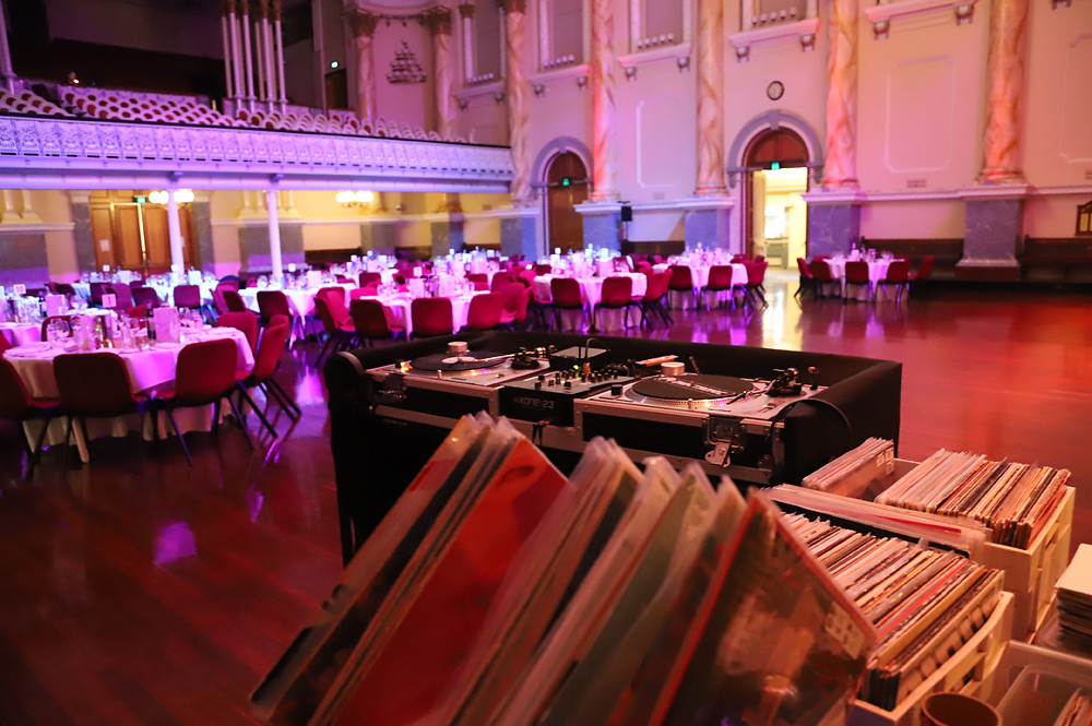 Adelaide DJ duo Funk Bros DJs DJ booth setup at Adelaide Town Hall for ICEN 2019 Conference Dinner