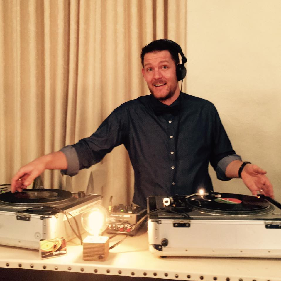 DJ Benny G from Adelaide DJ duo Funk Bros DJs DJing with vinyl records