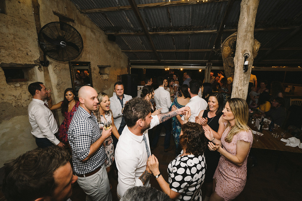 guests dancing to music from Adelaide DJ duo Funk Bros DJs at Blythe and Luke's wedding at Ivybrook Farm