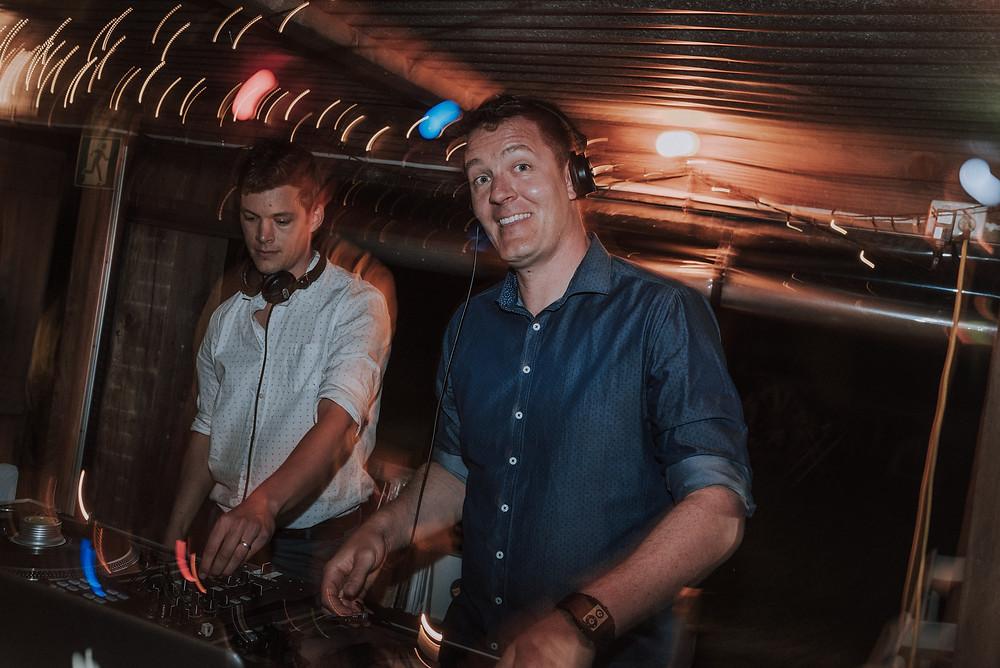 Adelaide DJs Nick Dawson and Ben Graetz from Funk Bros DJs DJing vinyl records at Renee and Justin's wedding at Peacock Farm, Willunga