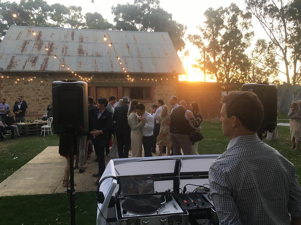 weddings guests dancing to music from Adelaide DJ duo Funk Bros DJs at Kuitpo Hall