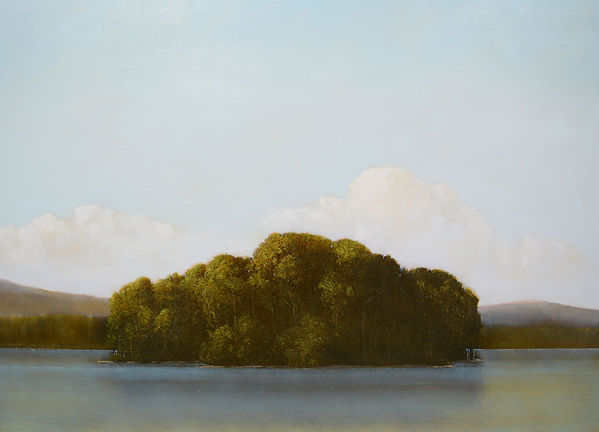 "Ile Cache, 2015, by Robert Marchessault, oil/panel, 30"" x 40"". Montreal"