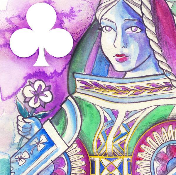 Queen of Clubs - Watercolour 01.jpg