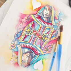 Queen of Hearts - Watercolour 02