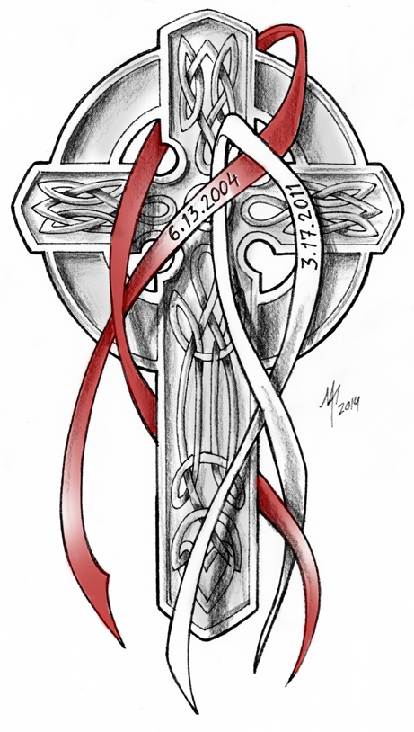 Celtic Cross Cancwe Ribbons