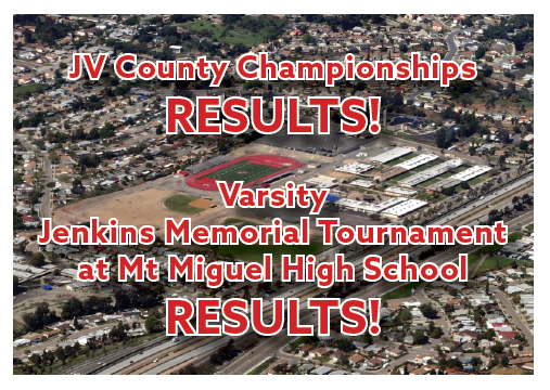 JV County Championships and Mt Miguel Jenkins Memorial Tournament Results