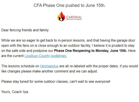 CFA Phase one pushed to Monday, June 15th.