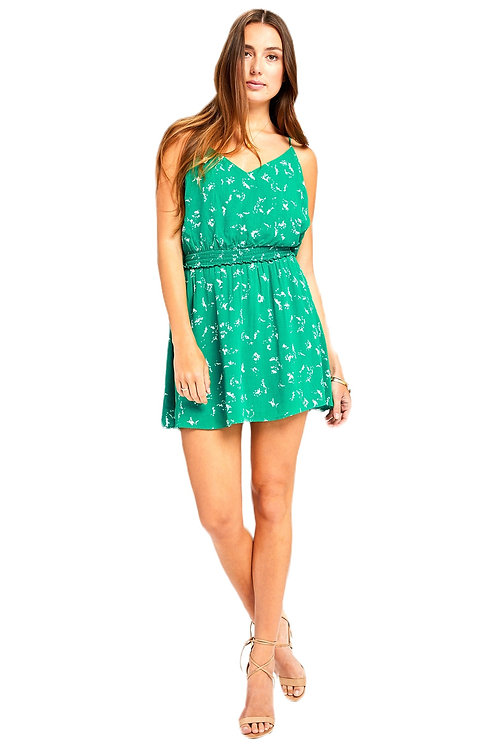 Apple Green Floral Dress