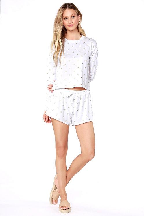 White Foil Print Shorts