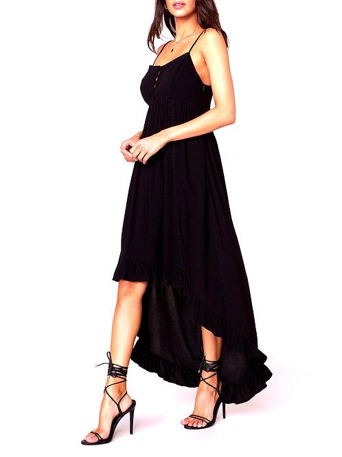 Black Ruffled  High-Low Maxi Dress