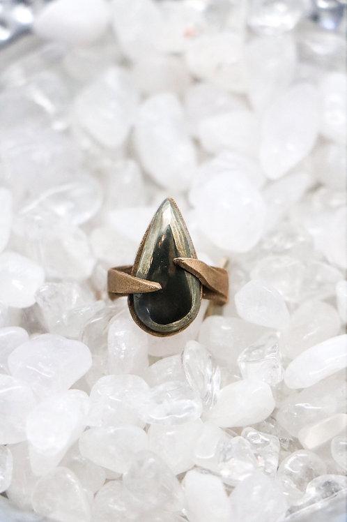 L&K Pear Pyrite Ring