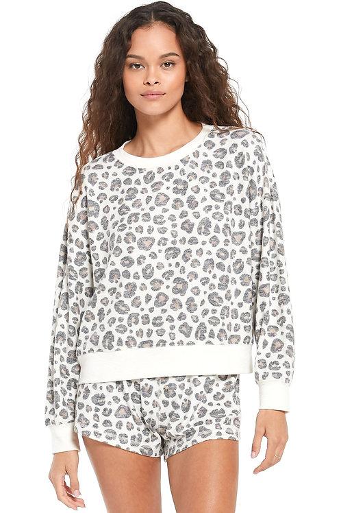 Elle Brushed Leopard Pullover