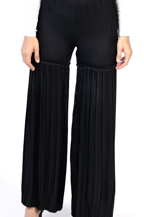 Black Pleated Wide Leg Pant