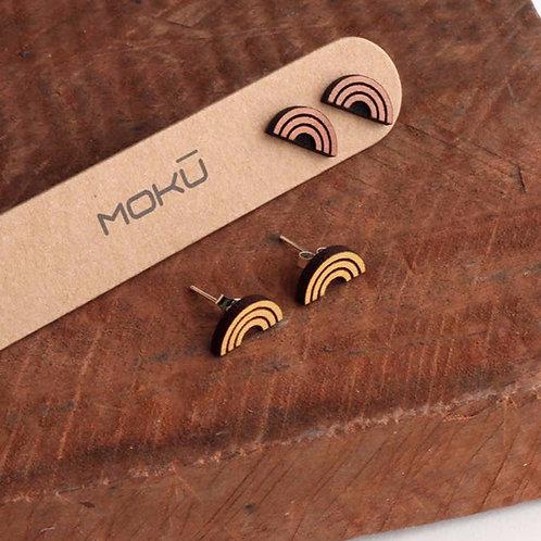 MOKU Rainbow Wood Stud Earrings Eucalyptus and Osage Orange