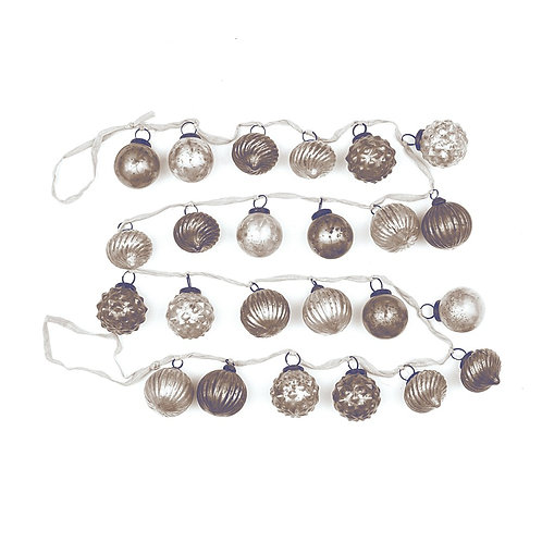 Embossed Mercury Glass Garland On Fabric String, silver