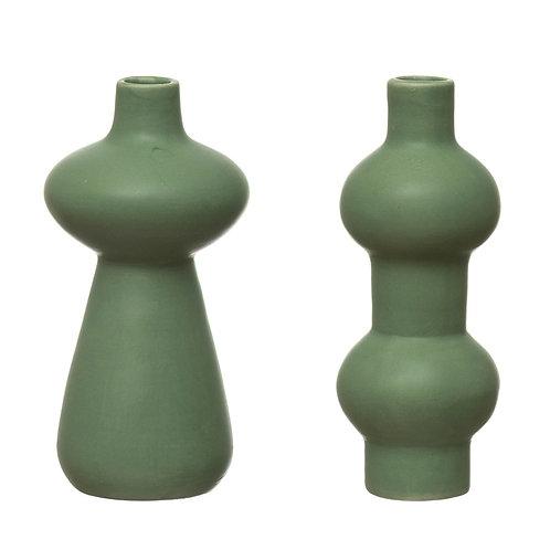Stoneware Vase, Latex Glaze, Green