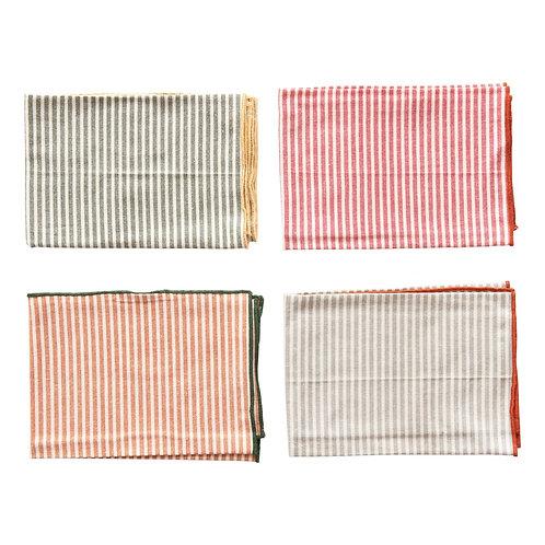 Cotton Napkins w/ Stripes & Embroidered Trim, Multi Color