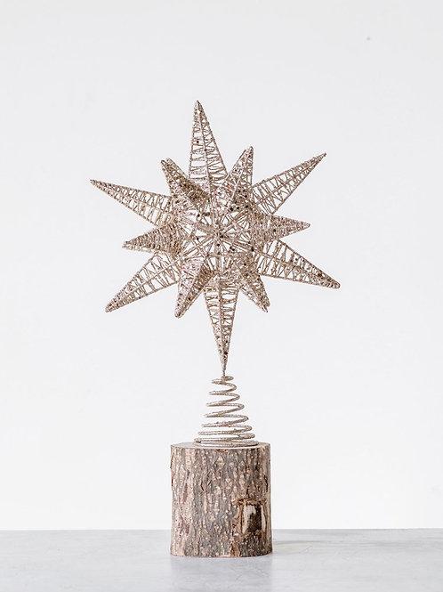 Metal Star Tree Topper w/ Gold Glitter