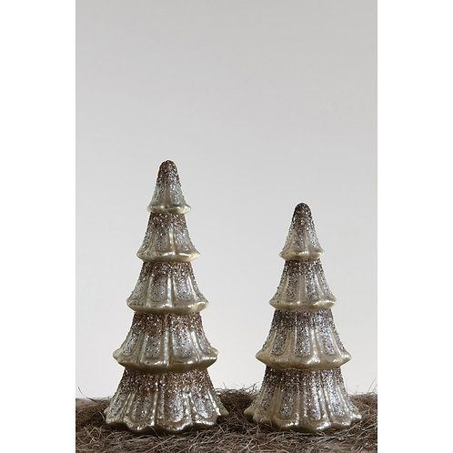 Mercury Glass Tree w/ Glitter, Silver Finish large