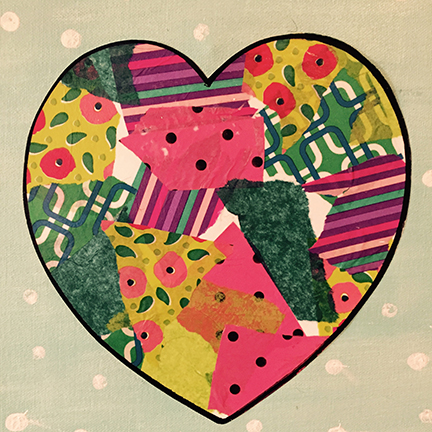 Heart decoupage