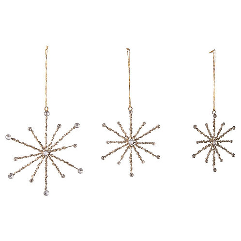 Metal Snowflake Ornaments w/ Sequins small