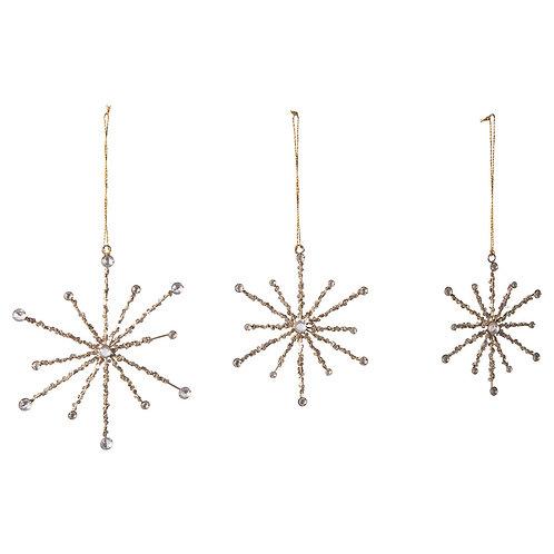 Metal Snowflake Ornaments w/ Sequins large