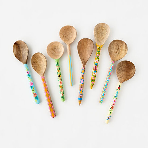 Hand Painted Floral & Geometric Spoon Wood