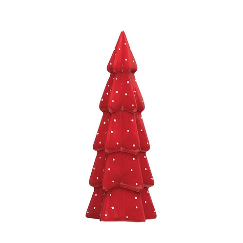 Stoneware Tree, Red w/ White Dots