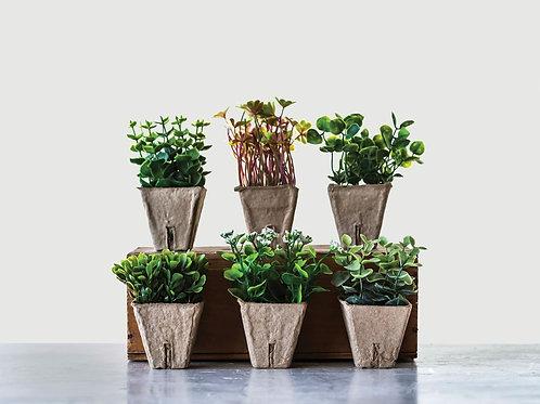 Faux Plant in Paper Pot