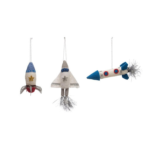 Wool Felt Rocket Ornament