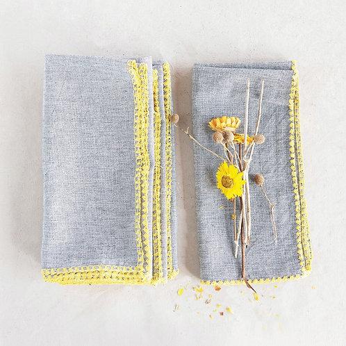 Cotton Napkins w/ Embroidered Yellow Edge, Grey, Set of 4